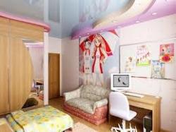 Преимущества использования натяжного потолка в детской комнате