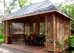 Строительство садовых беседок - выбираем крышу