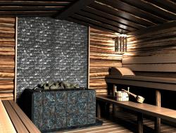 отделка стен бани с внутренней стороны талькохлорит плиткой